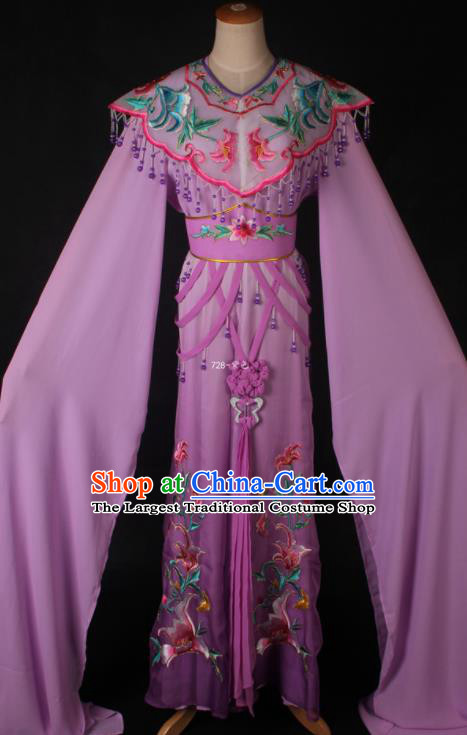 Traditional Chinese Shaoxing Opera Peri Princess Purple Dress Ancient Peking Opera Diva Costume for Women