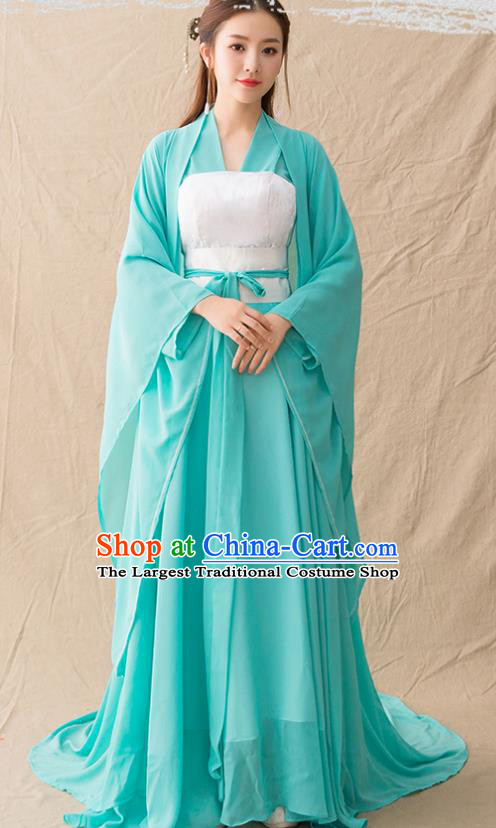 Chinese Ancient Drama Palace Princess Green Hanfu Dress Traditional Song Dynasty Imperial Consort Replica Costumes for Women