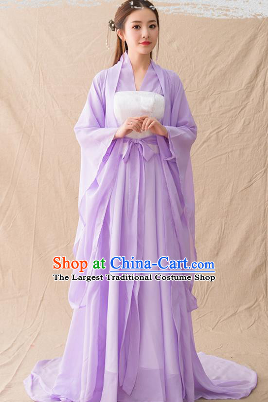 Chinese Ancient Drama Peri Goddess Purple Hanfu Dress Traditional Han Dynasty Court Princess Replica Costumes for Women
