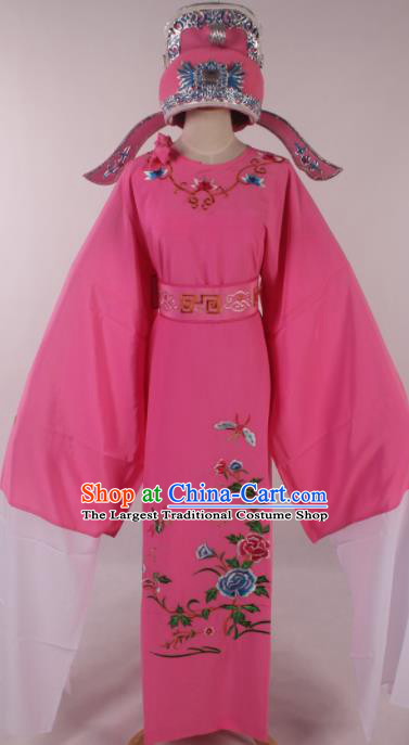 Traditional Chinese Shaoxing Opera Niche Embroidered Peony Pink Robe Ancient Nobility Childe Costume for Men