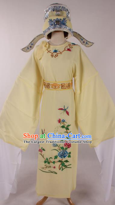 Traditional Chinese Shaoxing Opera Niche Embroidered Peony Light Yellow Robe Ancient Nobility Childe Costume for Men