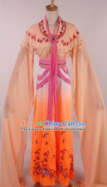 Chinese Traditional Shaoxing Opera Seven Fairies Orange Dress Ancient Peking Opera Actress Costume for Women