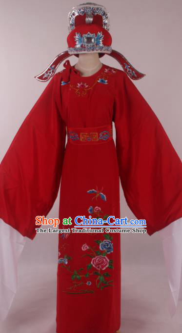 Traditional Chinese Shaoxing Opera Niche Embroidered Peony Red Robe Ancient Nobility Childe Costume for Men