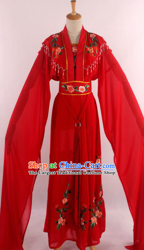 Chinese Traditional Shaoxing Opera Diva Goddess Red Dress Ancient Peking Opera Actress Costume for Women