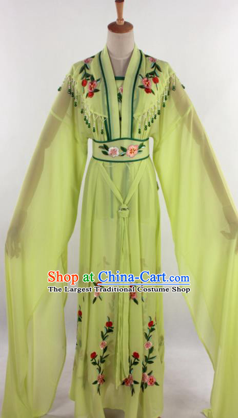 Chinese Traditional Shaoxing Opera Diva Goddess Greenyellow Dress Ancient Peking Opera Actress Costume for Women