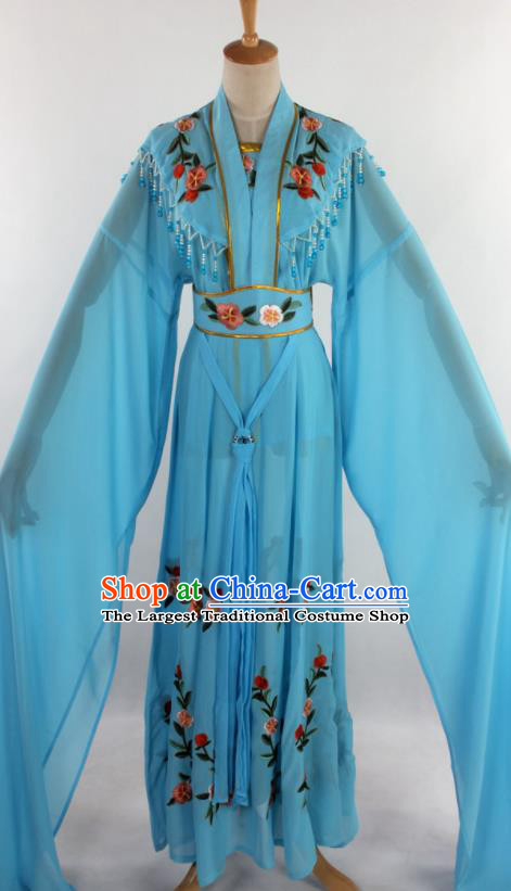 Chinese Traditional Shaoxing Opera Diva Goddess Light Blue Dress Ancient Peking Opera Actress Costume for Women