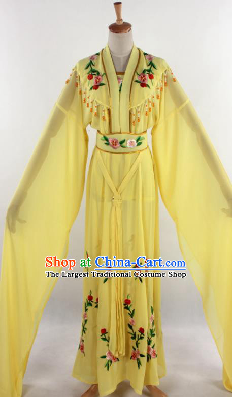 Chinese Traditional Shaoxing Opera Diva Goddess Yellow Dress Ancient Peking Opera Actress Costume for Women