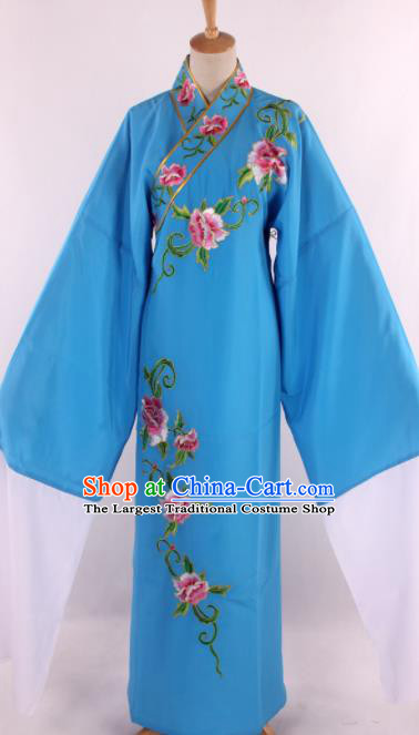 Traditional Chinese Shaoxing Opera Niche Embroidered Blue Robe Ancient Nobility Childe Costume for Men