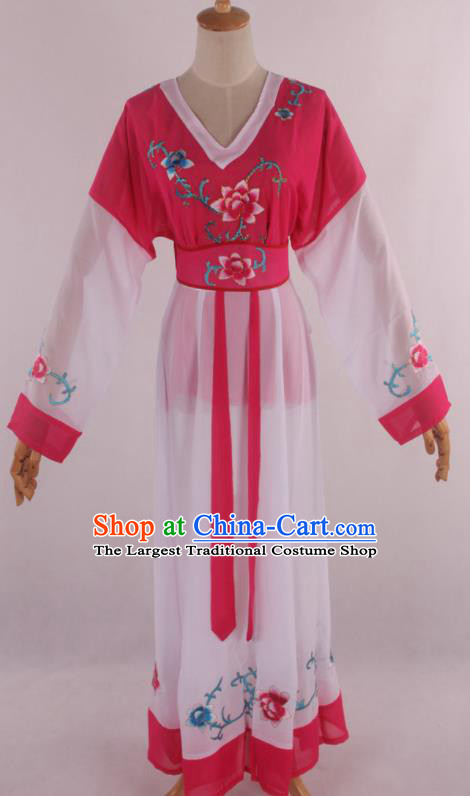 Chinese Traditional Shaoxing Opera Young Lady Rosy Dress Ancient Peking Opera Maidservant Costume for Women