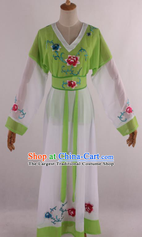Chinese Traditional Shaoxing Opera Young Lady Green Dress Ancient Peking Opera Maidservant Costume for Women