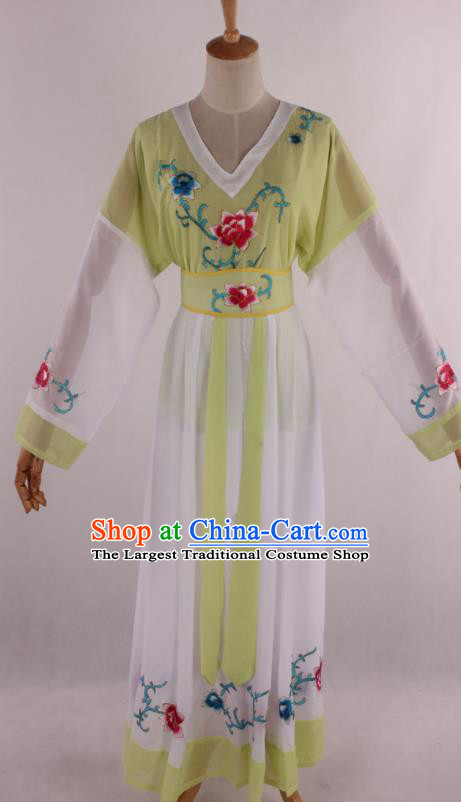 Chinese Traditional Shaoxing Opera Young Lady Light Green Dress Ancient Peking Opera Maidservant Costume for Women