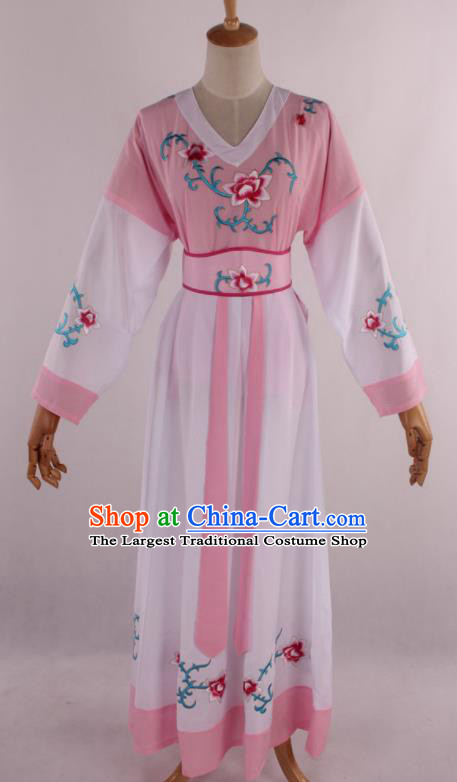 Chinese Traditional Shaoxing Opera Young Lady Pink Dress Ancient Peking Opera Maidservant Costume for Women