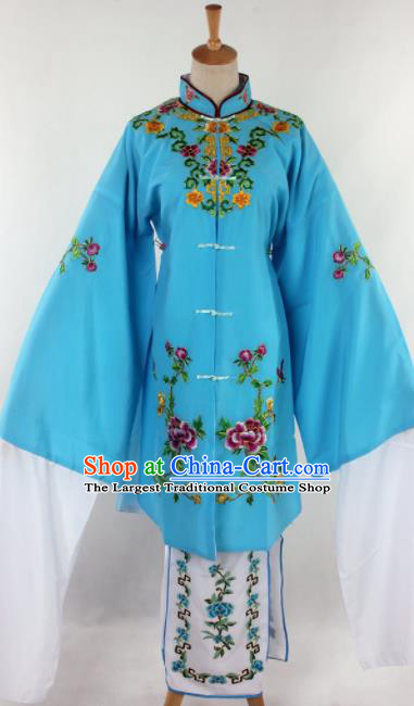 Chinese Traditional Beijing Opera Qin Xianglian Blue Dress Ancient Peking Opera Diva Costume for Women