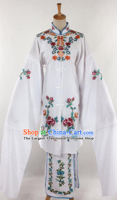 Chinese Traditional Beijing Opera Qin Xianglian White Dress Ancient Peking Opera Diva Costume for Women