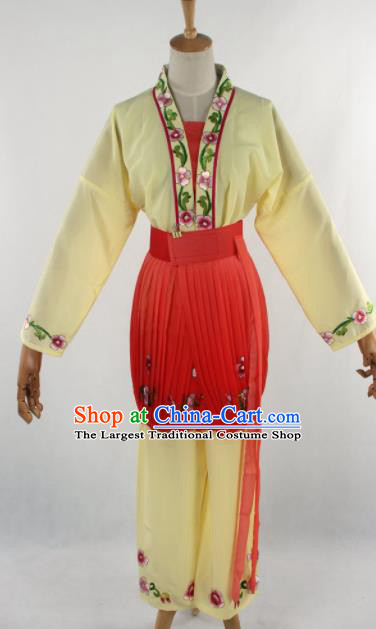 Chinese Traditional Beijing Opera Servant Girl Yellow Clothing Ancient Peking Opera Young Lady Costume for Women