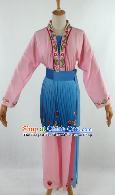 Chinese Traditional Beijing Opera Servant Girl Pink Clothing Ancient Peking Opera Young Lady Costume for Women