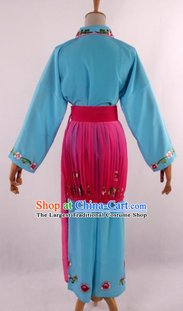 Chinese Traditional Beijing Opera Servant Girl Blue Clothing Ancient Peking Opera Young Lady Costume for Women