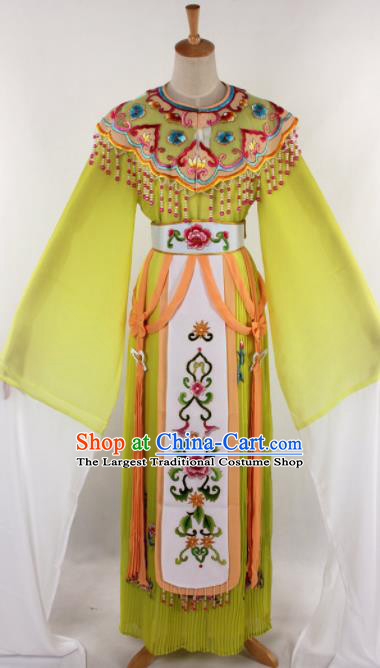 Chinese Traditional Beijing Opera Princess Yellow Dress Ancient Peking Opera Diva Costume for Women
