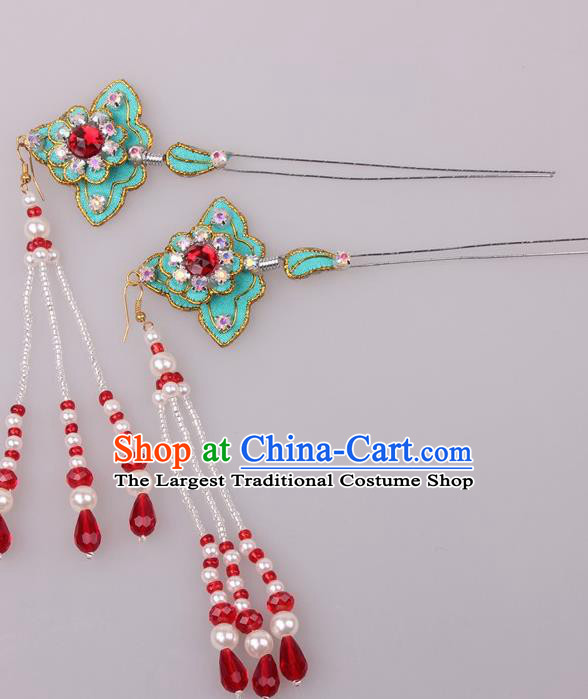 Traditional Chinese Shaoxing Opera Diva Green Hairpins Ancient Princess Hair Accessories Headwear for Women