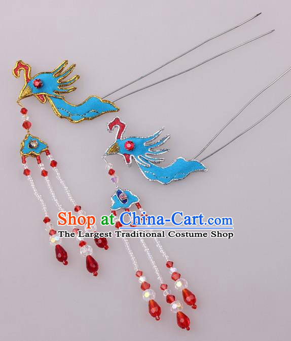 Traditional Chinese Shaoxing Opera Diva Phoenix Hairpins Ancient Princess Hair Accessories Headwear for Women