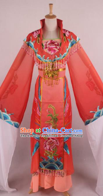 Chinese Beijing Opera Queen Orange Dress Ancient Traditional Peking Opera Actress Costume for Women