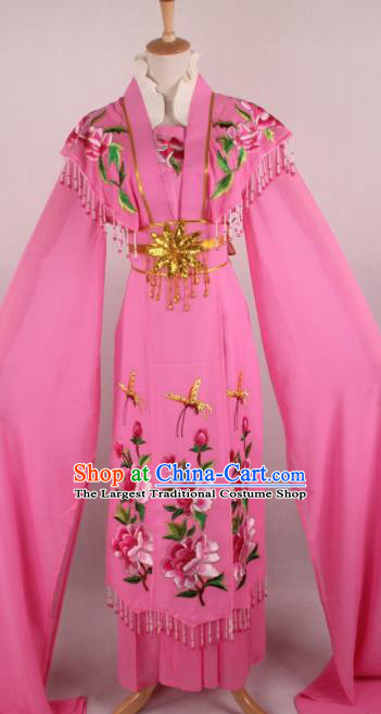 Professional Chinese Beijing Opera Nobility Lady Peach Pink Dress Ancient Traditional Peking Opera Diva Costume for Women