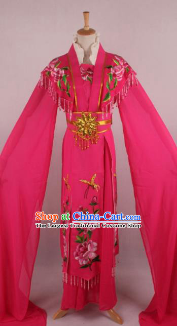 Professional Chinese Beijing Opera Nobility Lady Rosy Dress Ancient Traditional Peking Opera Diva Costume for Women