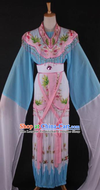 Professional Chinese Beijing Opera Peri Blue Dress Ancient Traditional Peking Opera Diva Costume for Women