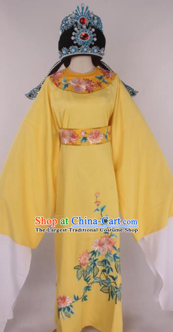 Traditional Chinese Shaoxing Opera Gifted Scholar Yellow Robe Ancient Childe Costume and Hat for Men