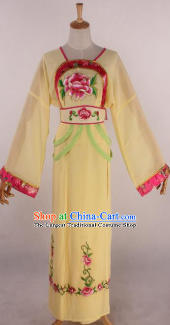 Chinese Beijing Opera Palace Maidservant Yellow Dress Ancient Traditional Peking Opera Court Maid Costume for Women