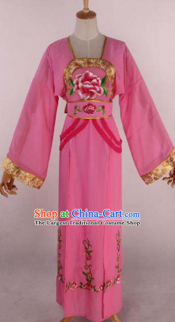 Chinese Beijing Opera Palace Maidservant Pink Dress Ancient Traditional Peking Opera Court Maid Costume for Women