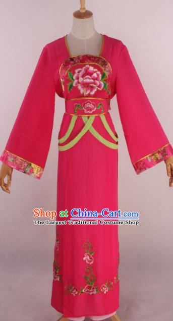 Chinese Beijing Opera Palace Maidservant Rosy Dress Ancient Traditional Peking Opera Court Maid Costume for Women