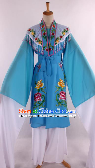 Chinese Traditional Shaoxing Opera Blue Dress Ancient Peking Opera Nobility Miss Costume for Women