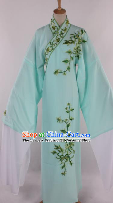 Traditional Chinese Shaoxing Opera Niche Embroidered Chrysanthemum Blue Robe Ancient Scholar Nobility Childe Costume for Men