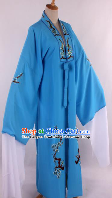 Traditional Chinese Shaoxing Opera Niche Embroidered Plum Blue Robe Ancient Scholar Nobility Childe Costume for Men