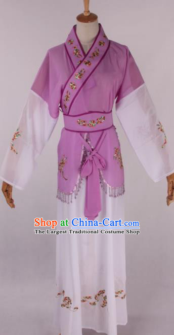 Chinese Traditional Beijing Opera Young Lady Maidservant Purple Dress Ancient Peking Opera Costume for Women