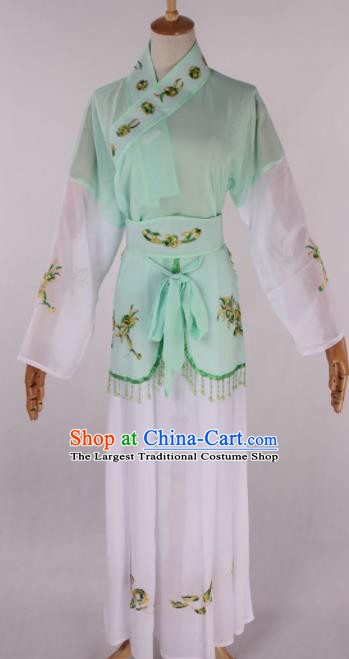 Chinese Traditional Beijing Opera Young Lady Maidservant Green Dress Ancient Peking Opera Costume for Women