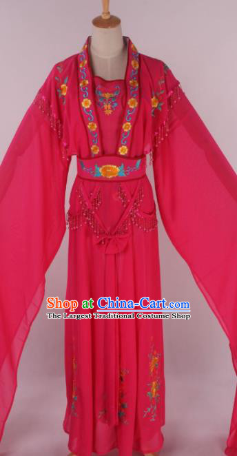 Chinese Beijing Opera Court Maid Rosy Dress Ancient Traditional Peking Opera Diva Costume for Women