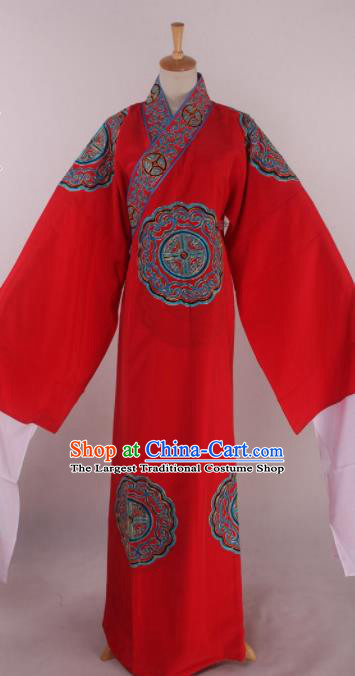 Traditional Chinese Shaoxing Opera Takefu Red Robe Ancient Imperial Bodyguard Costume for Men