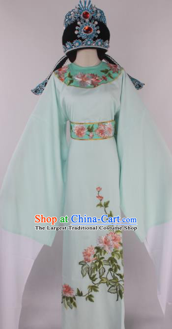 Traditional Chinese Shaoxing Opera Gifted Scholar Light Green Robe Ancient Childe Costume and Hat for Men