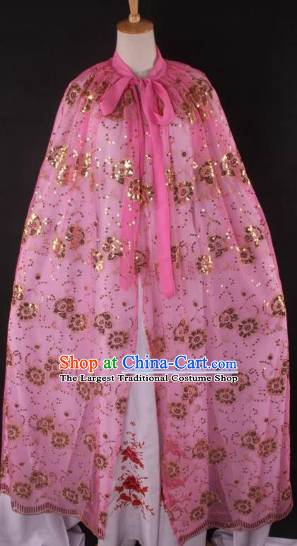 Professional Chinese Beijing Opera Swordswoman Pink Cloak Ancient Traditional Peking Opera Diva Costume for Women