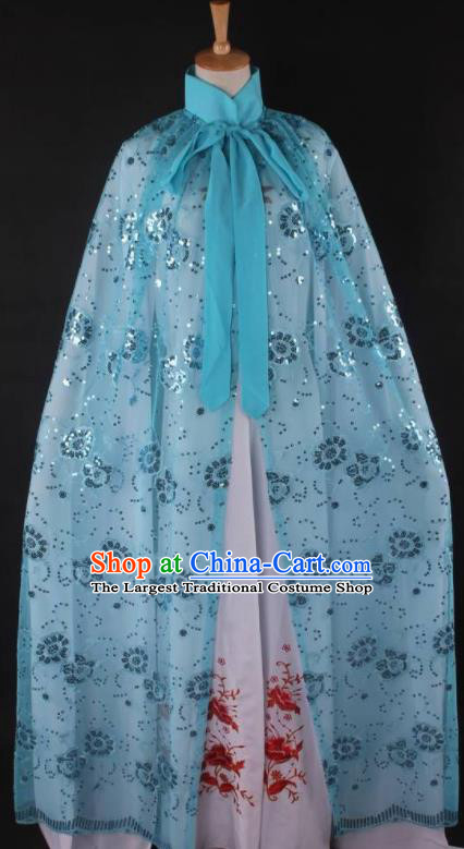 Professional Chinese Beijing Opera Swordswoman Blue Cloak Ancient Traditional Peking Opera Diva Costume for Women
