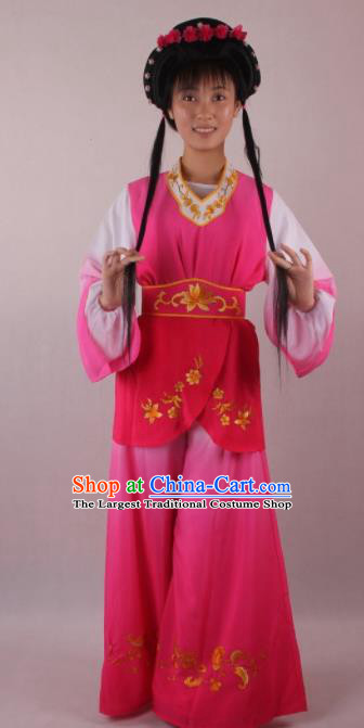 Professional Chinese Beijing Opera Servant Girl Rosy Clothing Ancient Traditional Peking Opera Costume for Women