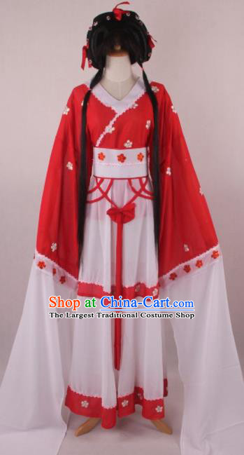 Professional Chinese Beijing Opera Young Lady Red Dress Ancient Traditional Peking Opera Costume for Women