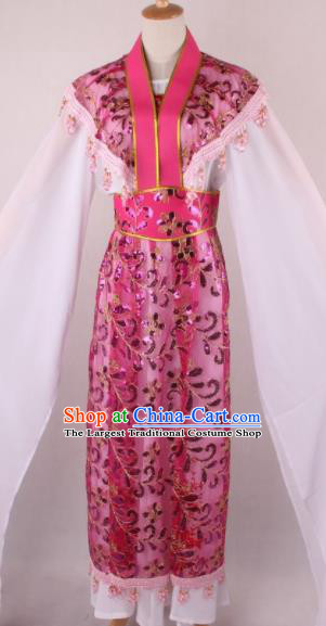 Professional Chinese Beijing Opera Young Lady Rosy Dress Ancient Traditional Peking Opera Costume for Women