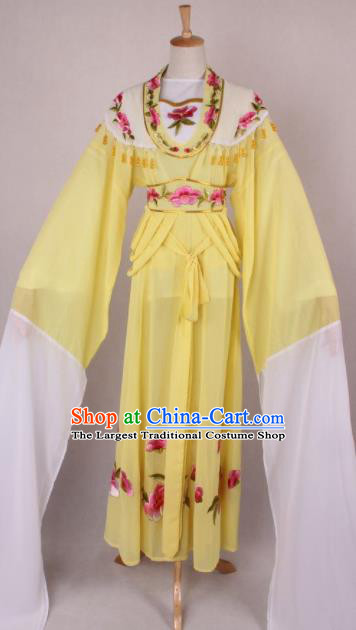 Professional Chinese Beijing Opera Nobility Lady Yellow Dress Ancient Traditional Peking Opera Costume for Women