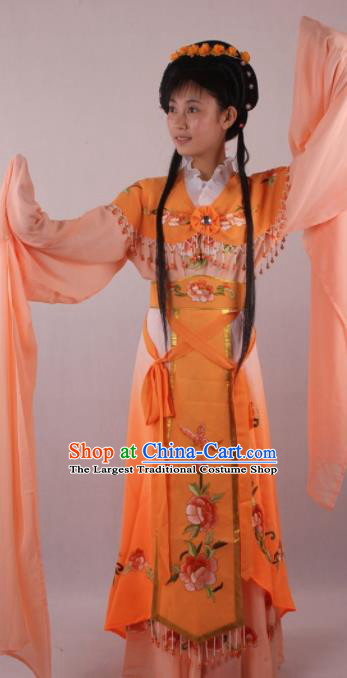 Professional Chinese Beijing Opera Rich Lady Orange Dress Ancient Traditional Peking Opera Diva Costume for Women