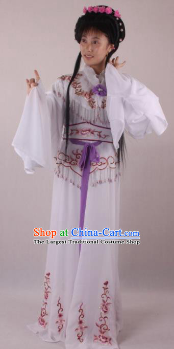 Professional Chinese Beijing Opera Rich Lady White Dress Ancient Traditional Peking Opera Diva Costume for Women