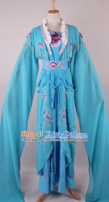 Professional Chinese Beijing Opera Diva Blue Dress Ancient Traditional Peking Opera Costume for Women