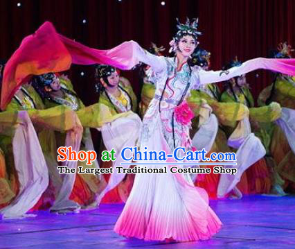 Traditional Chinese Classical Dance Flowers Contend in Beauty Costume Peking Opera White Water Sleeve Dress for Women